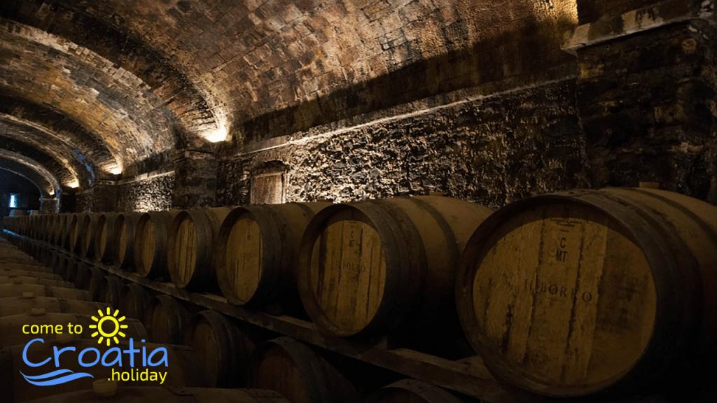 Cellar with wine barrels in Kutjevo