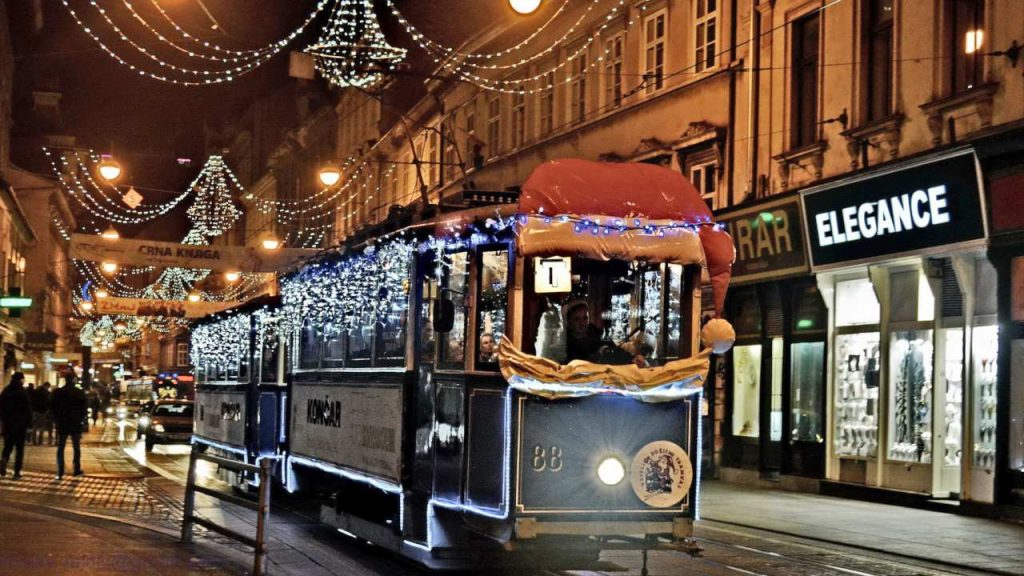 Decorated Tram in Zagreb on Advent