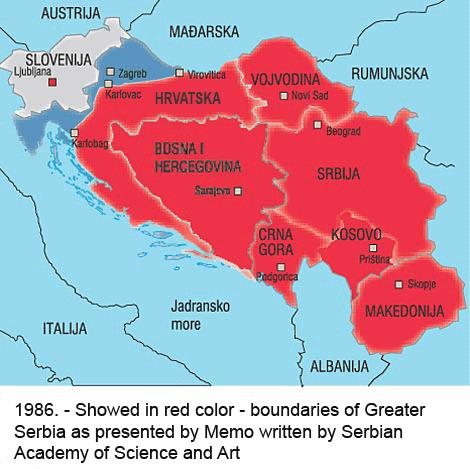 The map of Greater Serbia - a hegemonic idea that started the war in Yugoslavia